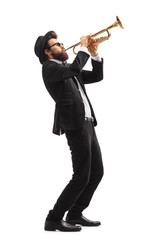 Musician playing a trumpet