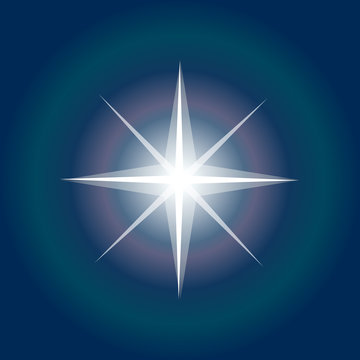 Star icon. Northern Star lights. Christmas Star on night sky background. Shiny Vector. Sparkle starburst. North Star with rays and explosion vector, Morning star symbol. Inspiring Space star