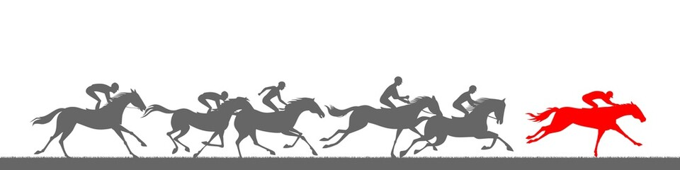 Horse racing silhouettes.