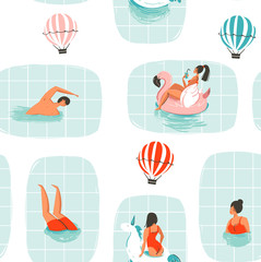 Hand drawn vector abstract cartoon summer time fun illustration seamless pattern with swimming people in swimming pool with hot air balloons isolated on white background