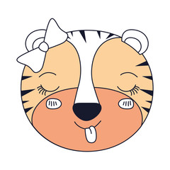 silhouette color sections face female tigress animal sticking out tongue expression vector illustration