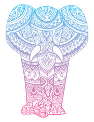 Stylized head of an elephant. Ornamental portrait of an elephant. Color drawing by hand. Indian. Mandala. Vector illustration.