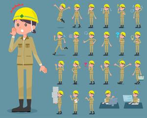 flat type helmet construction worker woman_1