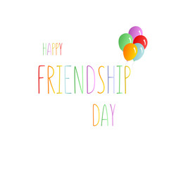 Colorful text Happy Friendship Day with balloons, Vector typographic design