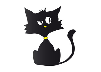 Cartoon black cat silhouette in bad mood with yellow nose and collar