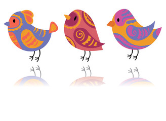 Vector set of stylized birds. A collection of cartoon birds. Illustration for children. Graphic art. Dove. Sparrow.