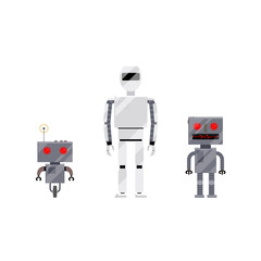 Three modern and retro style robot characters, cartoon vector illustration isolated on white background. Group of modern and retro style robots, androids, cartoon style illustration