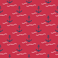 Seamless summer pattern with anchor elements and stylized waves.