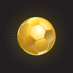 Soccer ball gold icon isolated. Gold soccer ball with starburst on black background. Award Football icon. Championship soccer Congratulations poster. Gold ball vector.