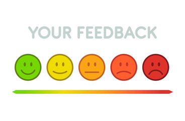 Set faces scale feedback - isolated vector illustration