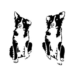 A pair of little dogs, silhouette on a white background.