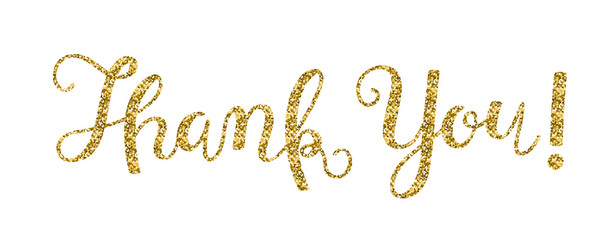 THANK YOU Gold Glitter Hand Lettering Card