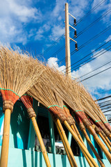Broom made with coconut leaves