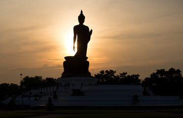 Silhouette standing big Buddha in Phutthamonthon