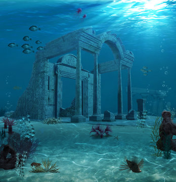 Ancient Atlantis Ruins Underwater