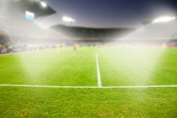 evening stadium arena soccer field defocused background
