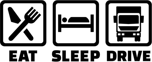 Wall Mural - Eat, sleep, drive icons - trucker