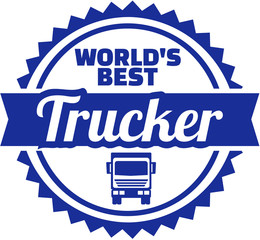 Fototapete - Worlds best trucker emblem