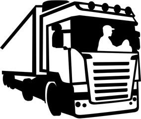 Trucker sitting in a truck silhouette