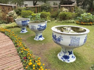 Big vases in Humble Administrator Garden of Suzhou