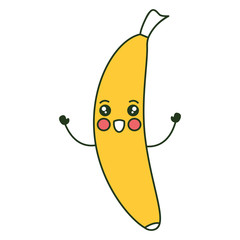banana fresh fruit kawaii character vector illustration design