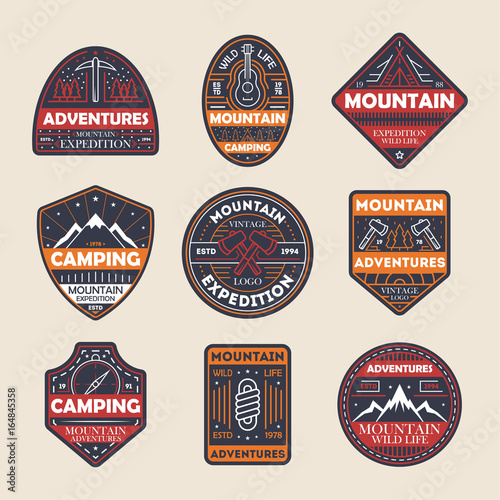 """""""Mountain Adventures Vintage Isolated Label Set. Outdoor"""