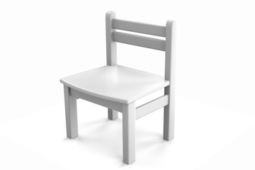 3d object white chair on a white background