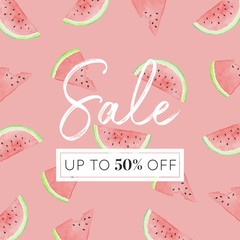 Watermelon Slices - Watercolor Sale Banner Background