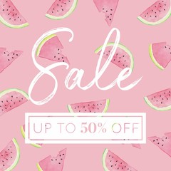 Watermelon Slices - Watercolor Sale Banner Pink