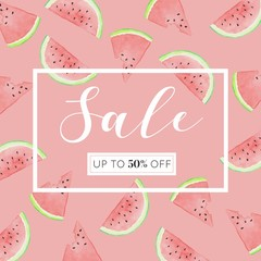 Watermelon Slices - Watercolor Sale Banner with Frame