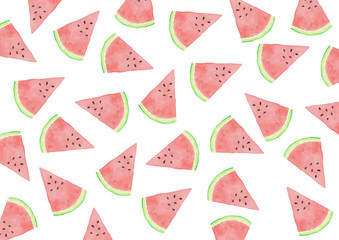Watermelon Slices - Watercolor Background White