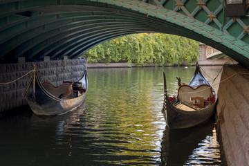 Gondolas Parked Under The Bridge, Eskisehir, Turkey