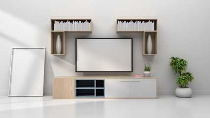 Mock up TV room in room interior white wall background, 3d rendering