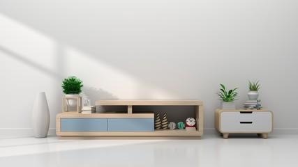 Tv shelf in modern empty room. 3d rendering