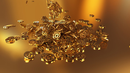 3d rendering of falling signs email. Variant in gold style