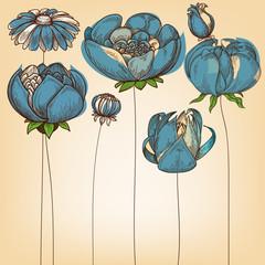 Fototapete - Floral background, cute blue flowers design
