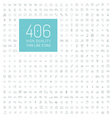 406 high quality universal thin line icons