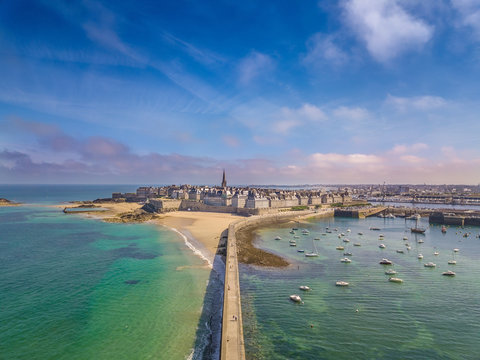 Drone view of the beautiful city of Privateers on sunset- Saint Malo in Brittany, France