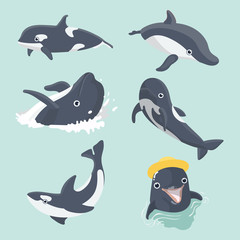 Set of cute dolphins.