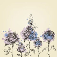 Foto op Canvas Grafische Prints Floral border made of roses hand drawn and watercolor painting