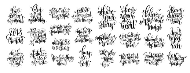 set of 25 hand lettering motivational and inspirational quotes