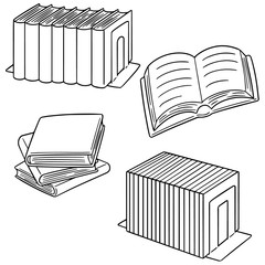 vector set of books