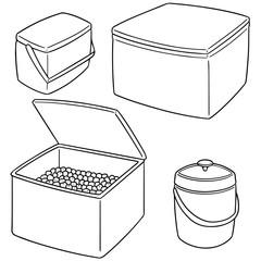 vector set of ice box and ice bucket