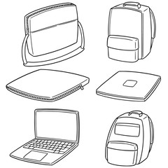 vector set of laptop and laptop bag