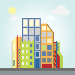 City landscape, business center of the city with skyscrapers. Flat style vector illustration.
