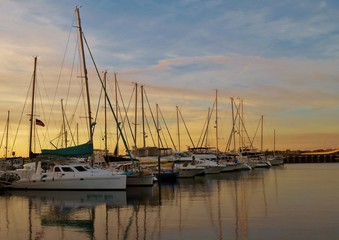 Sailbooats in a harbor in Bradenton, Florida at sunset