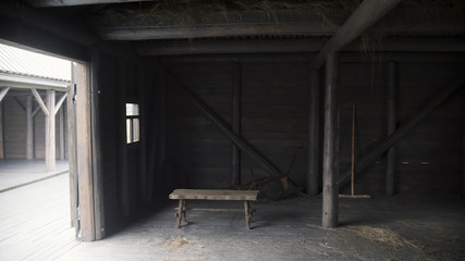 Interior of old rustic barn - historical reconstruction of tatar village