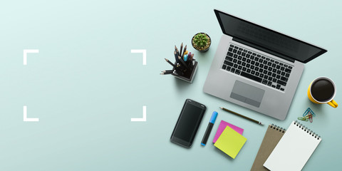 Office workplace with laptop, notebook, office supplies and stationery on turquoise background. Solution, business planning, creative, design, learning, start up or working flat lay top view concept. Wall mural