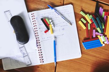 school supplies on a desk