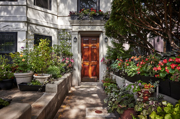 an ornate door to a townhouse